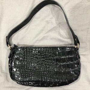 faux snake baguette shoulder bag